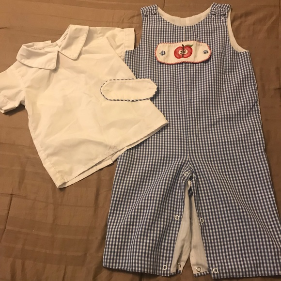 28597c55 Shrimp & Grits Kids One Pieces | Blue Checkered Tab Longalls | Poshmark